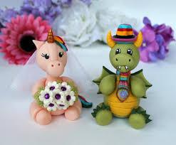and dragon wedding cake topper custom bride and groom