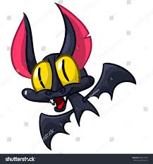 illustration cute cartoon halloween bat flying stock vector