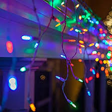Outdoor Led Icicle Lights Set Of 300 Multi Colored Mini Icicle Lights
