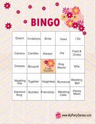 Advice For The Bride And Groom Cards 11 Free Printable Bridal Showers Bingo Cards