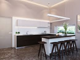 round simple bar stools pendant light neutral kitchen design ideas