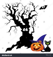 orange pumpkin smiling black cat lilac stock illustration