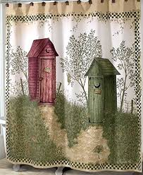 Country Shower Curtains For The Bathroom Outhouses Shower Curtain Country Decor Fabric Shower