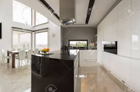 huge modern kitchens big modern kitchen connected with spacious dining hall stock photo