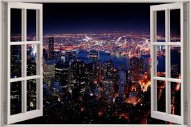 huge 3d window new york city view wall sticker mural art decal store categories