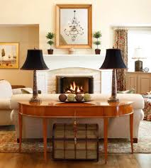 console table behind family room transitional with white recessed