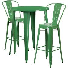 green metal outdoor table 30 round green metal indoor outdoor bar table set with 2 cafe stools