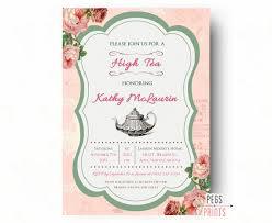 bridal invitations high tea bridal shower invitation floral high tea bridal