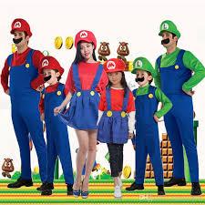 halloween cosplay super mario luigi bros costume for kids and