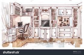 Interior Design Bedroom Drawings Watercolour Sketch Interior Bedroom Stock Illustration 11793712