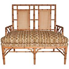 Chinese Chippendale Chair by 1950s Chippendale Faux Bamboo Down Filled Settee Arm Chair