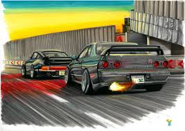porsche 964 nissan skyline bnr32 vs porsche 964 blackbird two6design draw