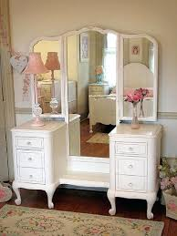 Vanity Table With Tri Fold Mirror Vanities White Vintage Dressing Table Ebay Spectacular White