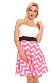 White Pink Striped Heart Shape Tube Top Stretchy Casual Dress Cute