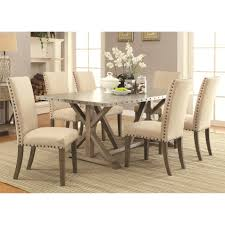coaster webber 6pc metal top dining table set in driftwood finish
