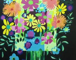 cubism flower painting acrylic painting flowers etsy