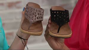 skechers wedge thong sandals w rhinestones dazzled on qvc youtube