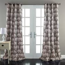 84 Inch Curtains Gray Elephant Parade Room Darkening 84 Inch Curtain Panel Pair