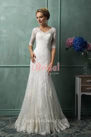 wedding dress sleeve vintage v neck mermaid lace sleeve formal wedding dress