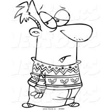 vector of a cartoon man wearing a festive sweater coloring page