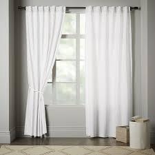Black And White Draperies Linen Cotton Curtain Stone White West Elm