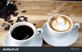 americano cups latte cappuccino espresso americano coffee stock photo