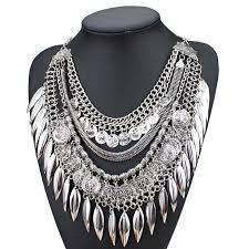 ethnic necklace design images 2015 vintage boho silver multilayer coin tassel ethnic necklace jpg