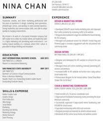 Marketing Resume Ninachan Resume Design Marketing Resume Resumedesign Layout