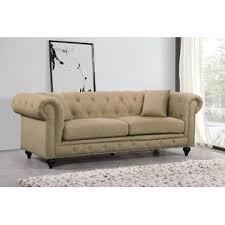 esofastore modern classic sand tufted linen fabric 3pcs sofa set