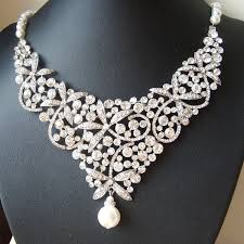 wedding necklace photos images Statement bridal necklace crystal bib wedding necklace jpg