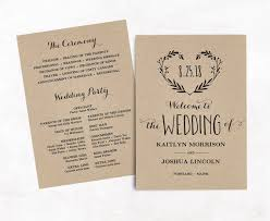 kraft paper wedding programs wedding program template printable wedding programs kraft paper