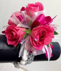 pink corsage hot pink and white wrist corsage by ballard blossom prom flowers