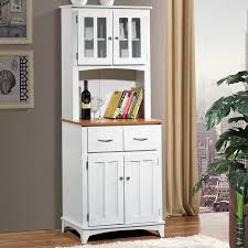 home source brook white and cherry tall microwave cart with