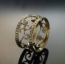 ornament diamonds gold ring handmade delicate ring 14k yellow