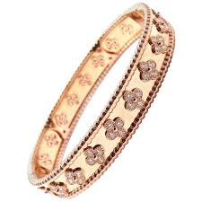 bangle bracelet with ring images Van cleef and arpels perlee diamond clover rose gold bangle jpg