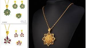 gold flower necklace designs images Flower pendant gold chains and floral earrings designs gold jpg