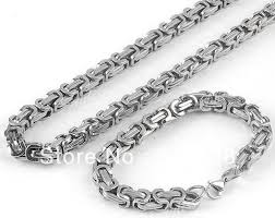 mens silver byzantine necklace images Free ship fashion men 39 s jewelry set stainless steel silver 8mm jpg