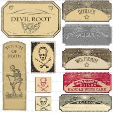 vintage poison witchcraft potion bottle labels halloween props