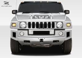 03 09 hummer h2 br n duraflex front bumper add on body kit