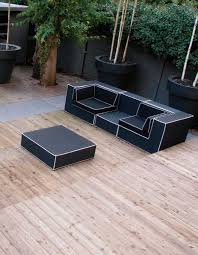 clean white themed modern outdoor furniture with l shaped sofa and
