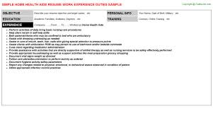 Hha Resume Samples Home Health Aide Resume Resume Badak