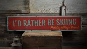 i d rather be skiing wood sign personalized ski resort zoom