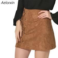 aelorxin 2017 women u0027s skirt high waist faux suede short skirt slim