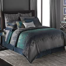 Teal And Grey Bedding Sets Style Bedroom Decor With Peacock Feather Teal
