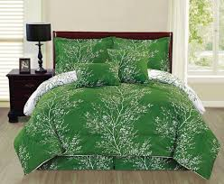 Mint Green Comforter Amazonsmile Ace 6 Piece Reversible Soft Forest Green Tree