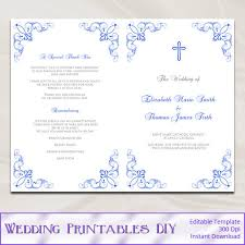 church wedding program template catholic wedding program template diy royal blue ceremony