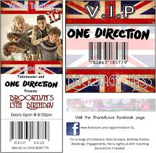 one direction birthday party v i p vip ticket invitation and