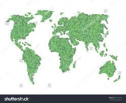 Outline Of World Map by Abstract Vector Outline World Map Pixel Stock Vector 197142218