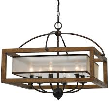 square wood frame and sheer chandelier 6 light rustic style