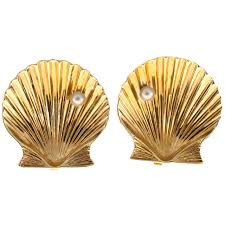 clip on earings and co pearl gold shell clip earrings for sale at 1stdibs